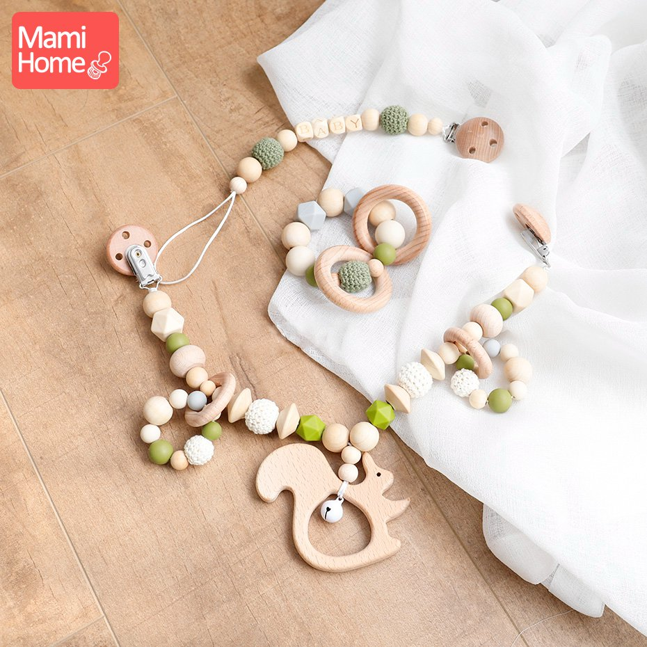 mamihome 1set Wooden Teether Silicone Beads Baby Bell Cart Chain Crochet Beads Pacifier Clip Newborn Gifts Baby Teething        mamihome 1set Wooden Teether Silicone Beads Baby Bell Cart Chain Crochet Beads Pacifier Clip Newborn Gifts Baby Teething