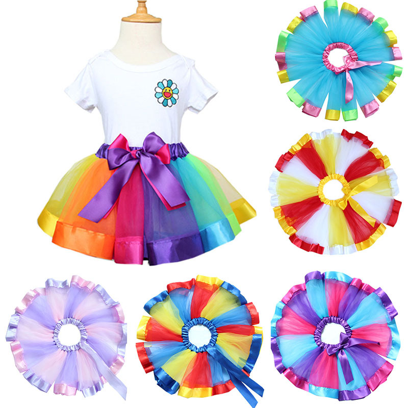 все цены на 2018 Summer Rainbow Tutu Skirt Girl Pettiskirt Bowknot Children Show Dance Skirt For Short Tutu Girls онлайн