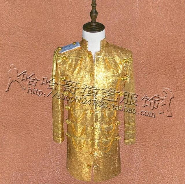 Yellow Sequins Blazers Mens Long Suits Designs Masculino Homme Terno Stage Singers Clothes Men Jacket Star Style Dress Punk Gold