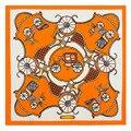 60 CM X 60 CM carro de impressão geométrica Clássico lenços de pescoço para as mulheres anel lenço 2017 primavera pequeno lenço de seda feminino cabeça enseada A068