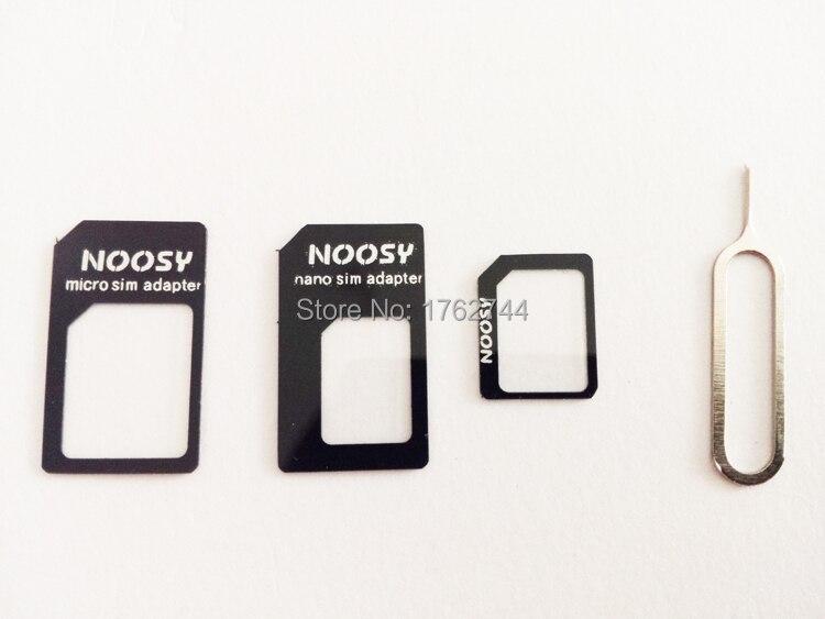 bilder für 100 stücke 4 in1 noosy dual-sim-karte adapter für iphone 6 5 4 s samsung nano-sim-karte adapter zu micro sim-karte adapter eject pin
