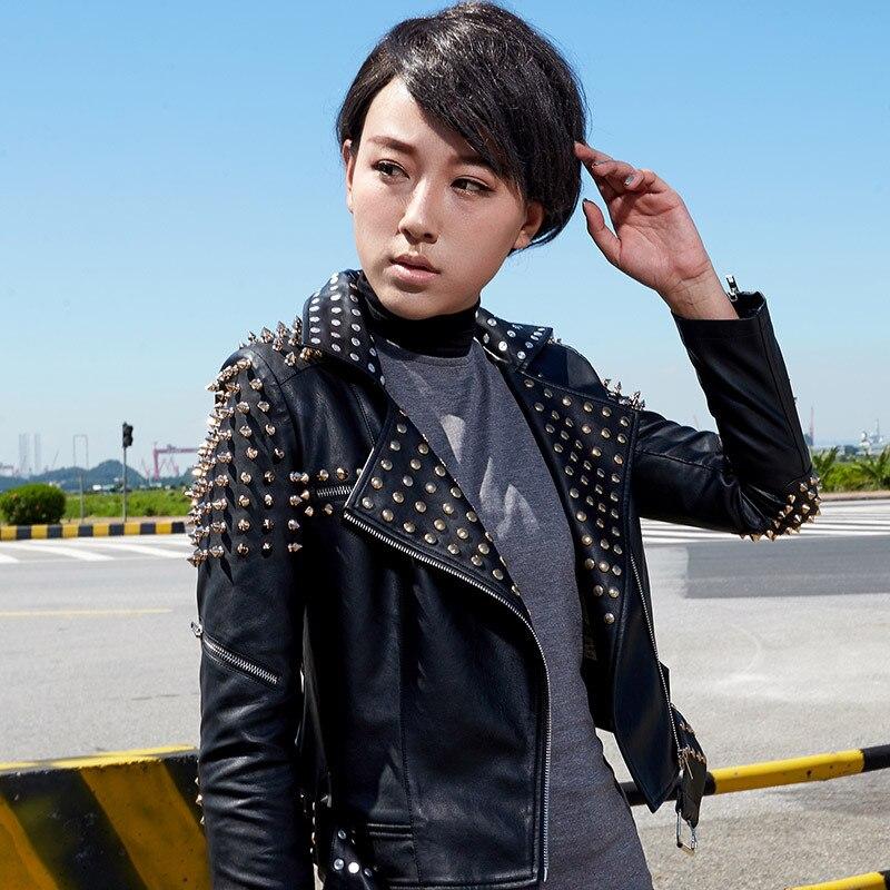 2019 Top Brand New Korean Women's Motorcycle   Leather   Jacket Women's Jacket Slim Rivet Bullets PU Large Size Jacket