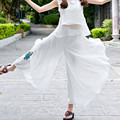 New National Wind Flowing Chiffon Embroidered Loose Thin Pant-Skirts Women's Summer Spring Fashion Wide Leg Pant