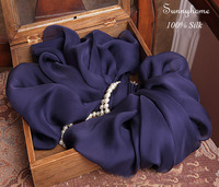 Echarpe hiver foulard femme Square hijab 100% Silk Solid Dark Blue Scarves and stoles Winter Warm Pashminas ponchos and capes