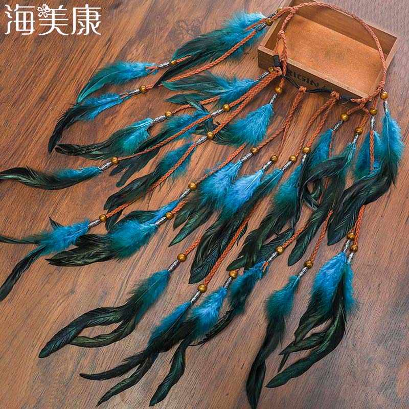 Haimeikang 2019 Feather Hair Band Bohemian Blue Elastic Gypsy Festival Headband Women's Fashion  Hair Accessories