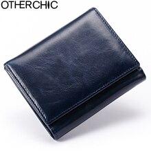 OTHERCHIC Vintage Kleine Männer Brieftasche Aus Echtem Leder Frauen Kurze Geldbörsen Münzfach Karte Brieftasche Weibliche Geldbörsen Geldscheinklammer 5N12-11