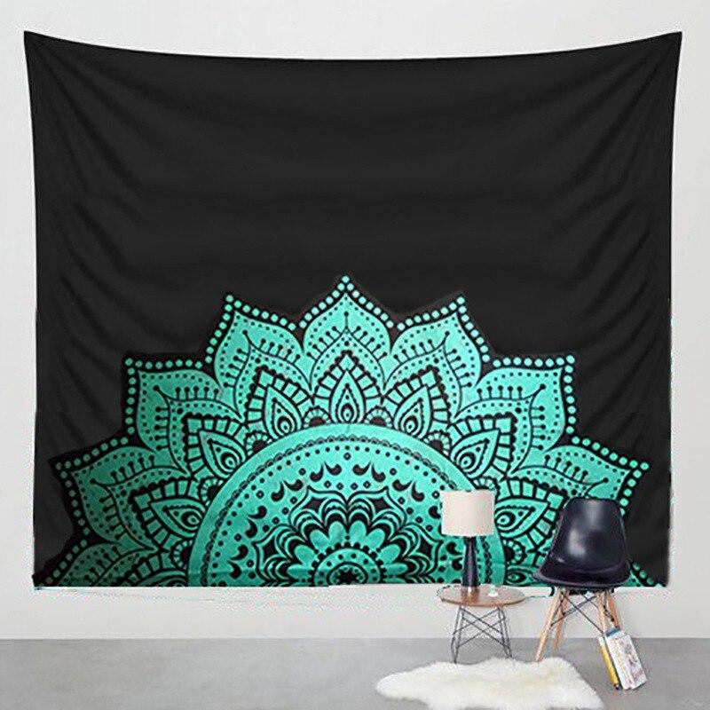 Hippie Tapisserie Imprimé Lotus Tapisserie Bohême Mandala Tapisserie Serviette Plage Tenture Pour La Décoration Murale Tapis De Yoga