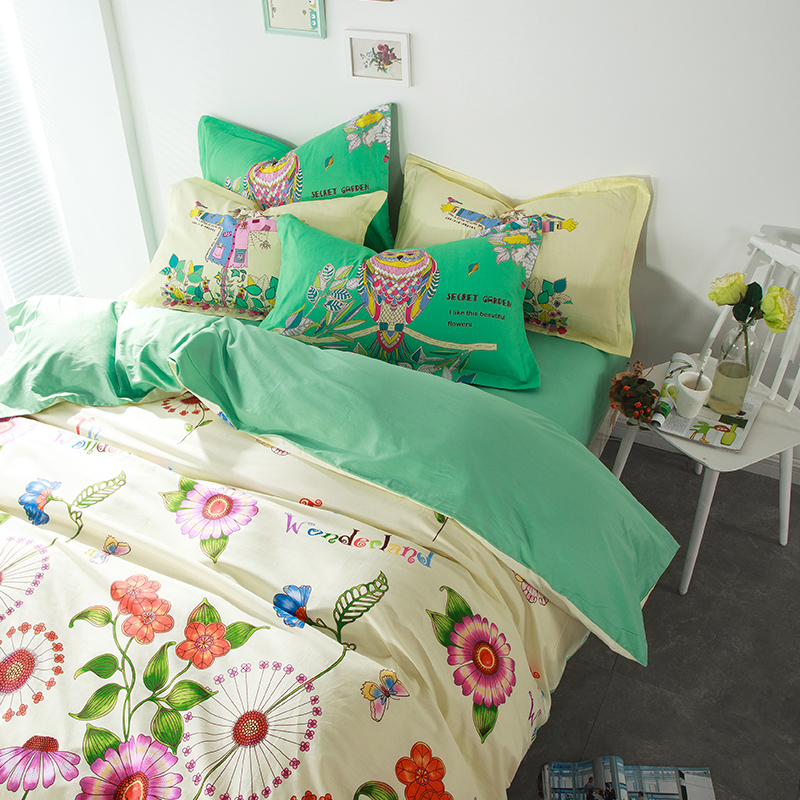 owl and cute flowers 4pcs bedding sets 100 cotton queen 2016 new fashion duvet cover flat