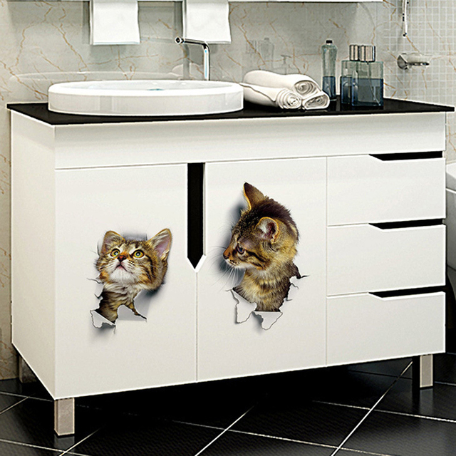 3D Cats Wall Sticker Hole View Bathroom Living Room Decoration Home Decor Animal Vinyl Decals Art Poster cute Toilet Stickers 2