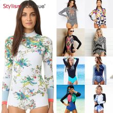 2019 One Piece Swimsuit Rashguard Printed Long Sleeve Swimsuit Rash Guard Women Swimwear Surfing Swimming Suit Bathing Suit(China)