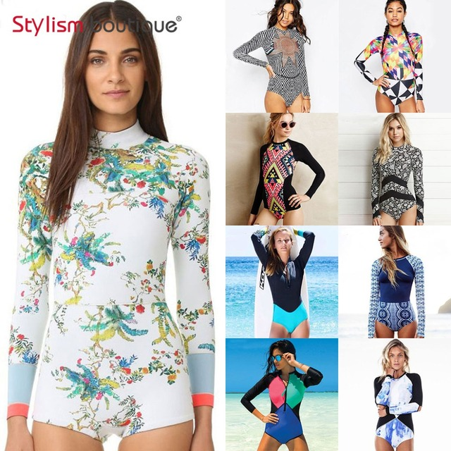 2019 One Piece Swimsuit Rashguard Printed Long Sleeve Swimsuit Rash Guard Women Swimwear Surfing Swimming Suit Bathing Suit