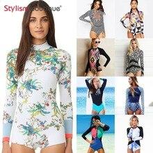 2019 jednoczęściowy strój kąpielowy Rashguard wydrukowano strój kąpielowy z długim rękawem wysypka straż kobiety stroje kąpielowe Surfing strój kąpielowy strój kąpielowy