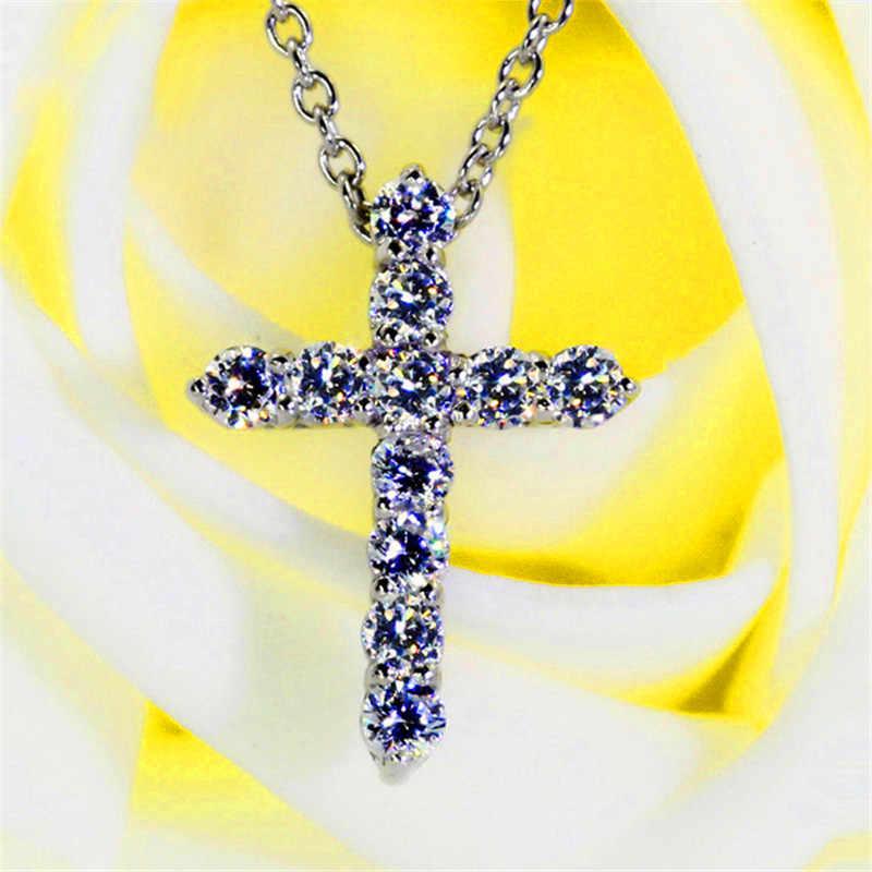 Luksusowe kobiece naszyjniki z krzyżem i wisiorki moda cyrkon kamień wisiorek kolor srebrny łańcuch naszyjniki dla kobiet biżuteria ślubna