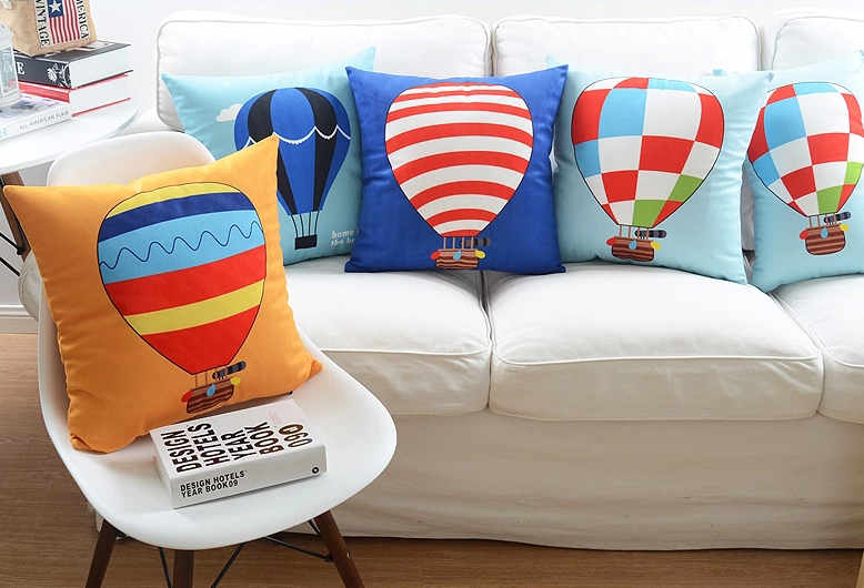 Colour Fire Balloon Cushion Cover Geometric Stripe Plaid