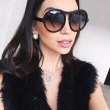 Winla Fashion Brand Designer Sunglasses Women Ladies Sun Glasses Retro Round Style Big Frame UV400 Oculos De Sol Female WL1078