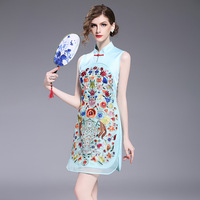 2017 Summer Embroidery Floral Chinese Dress Women Qipao Retro Embroidery Flower Cocktail Party Dresses Eugen Yarn