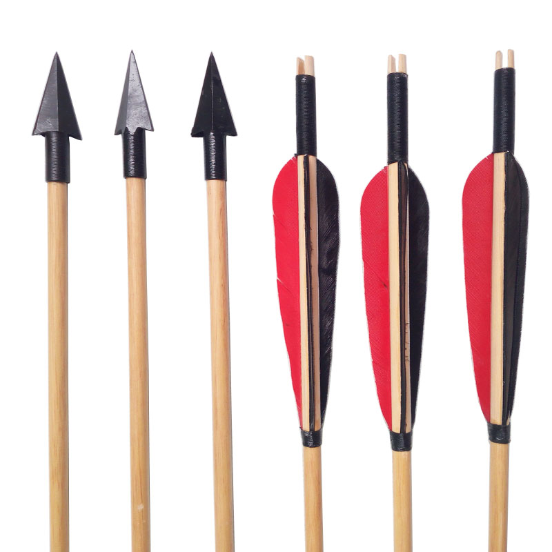 Image 5 - 6/12pcs Archery Traditional Broadheads Wooden Arrows Outdoor Bow And Arrow Hunting Shooting Practice Handmade Wood Arrow-in Bow & Arrow from Sports & Entertainment