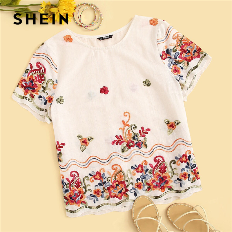 SHEIN Embroidery Floral Print White Blouse Womens Tops And Blouses Boho Cotton Round Neck Short Sleeve Blouse 2019 Ladies Tops