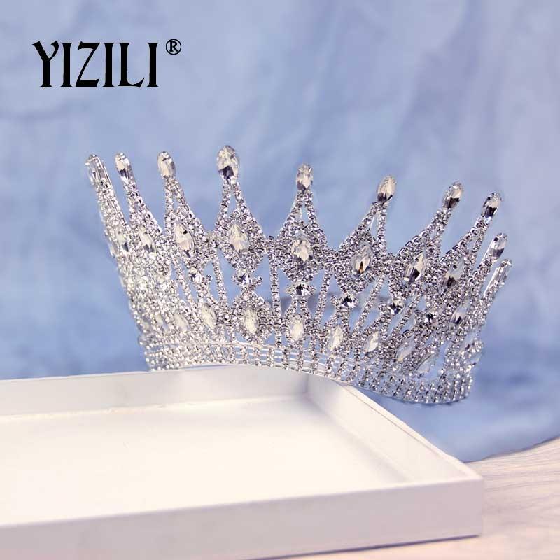 YIZILI New Luxury Big Bride Wedding Crown Rhinestone gorgeous Crystal Large Round Queen Crown Wedding Hair