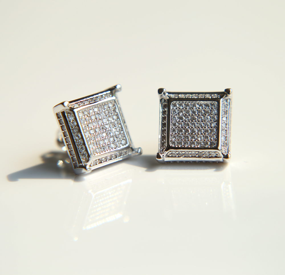 High Quality Square Shape Bling Aaa Cubic Zirconia Mens
