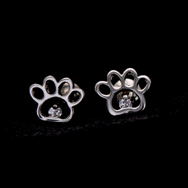 High Quality Cute Cat Dog Paw Prints Simple Zircon Stud Earrings For Women  Fashion Pet Animal Jewelry (Support Drop Shipping)