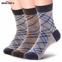 Seven7 Brand Casual Men Socks High Quality Fashion Plaid Socks Patchwork Contrast Color Comfortable Breathable Socks