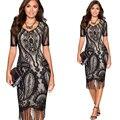 Черный Sexy Кружева Женщины Платье Повязки Bodycon Desigual Платье для Женщин Vestidos С Коротким Рукавом Кисточкой Кружева Вышивка Бальные Платья
