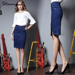 Image 3 - Midi ג ינס חצאית בתוספת גודל נשים שחור ג ינס חצאיות נשים חצאיות נשים של עיפרון חצאית עם כפתורי מותניים גבוהים הברך אורך פיצול
