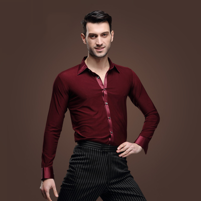 Show details for 2016 Bordeaux Man Latin Dance Shirt Male Long Sleeves Samba Lumba Dance Adult Modern Dance Clothes  Wine Red Latin Dance Top