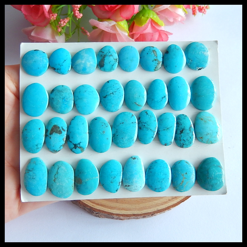 33 PCS Of Natural Us Turquoise fashion necklace pendant Cabochons,13x11x3mm,18x10x3mm,26.44g 6 pcs of carved lapis lazuli fashion pendant cabochons 20x5mm 26 7g