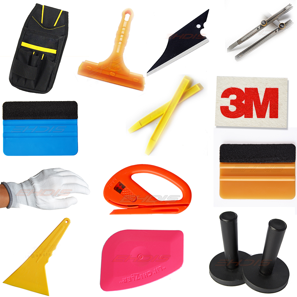 EHDIS 13 IN 1 Car Wrap Vinyl Film Tool Kit 3M Squeegee Rubber Squeegee Manget Holder Gloves Cutting Knife Tool Bag AT011 dek 193199 193202 193205 300 400 520mm clean rubber squeegee