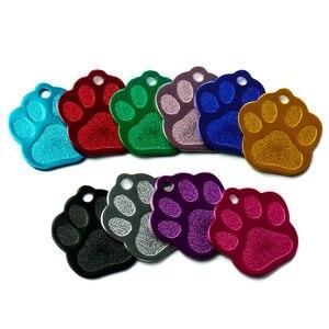 Image 3 - 卸売 100 個 3D 絶妙なポウシェイプ犬 ID タグカスタム刻ま名電話番号猫犬 ID タグペット用品