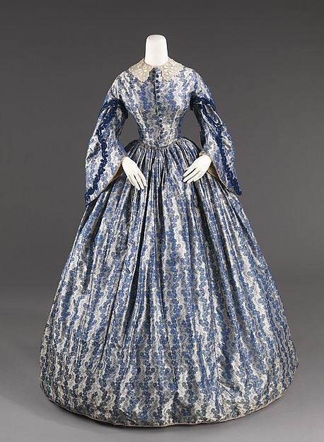 1860 American Printing Gowns Civil Theater Dress