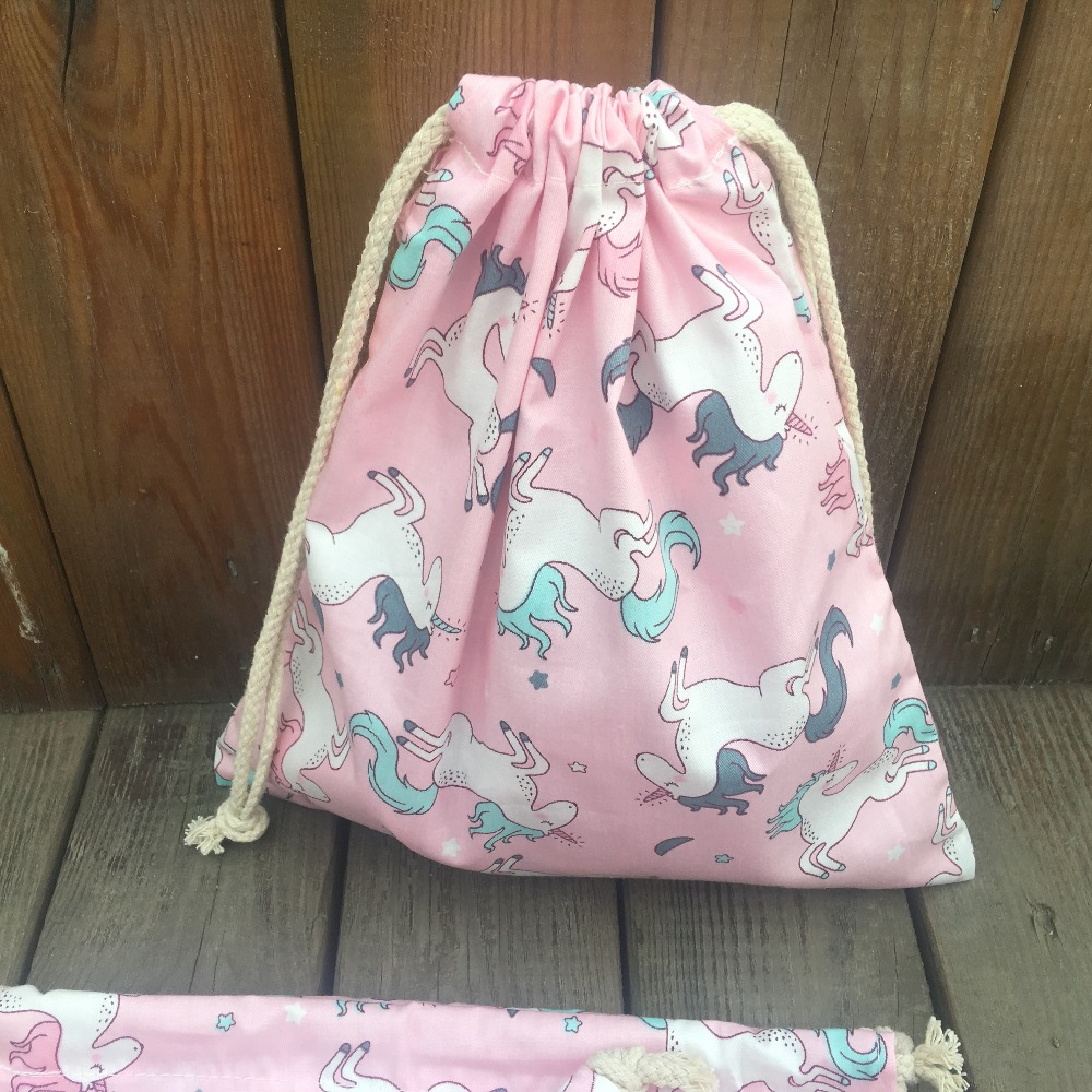 YILE 1pc Cotton Twill Drawstring Pouch Organizer Party Gift Bag Print Unicorn Pink Base YL9415c