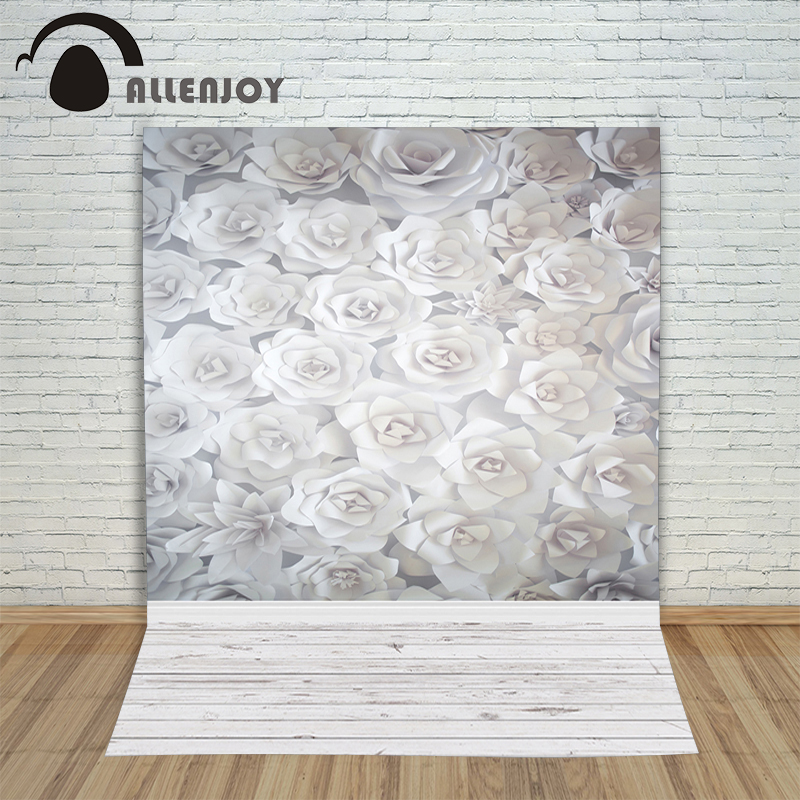 Allenjoy photo backdrops White paper blooming flowers 3D wood Photophone for a shoot New backgrounds shoots
