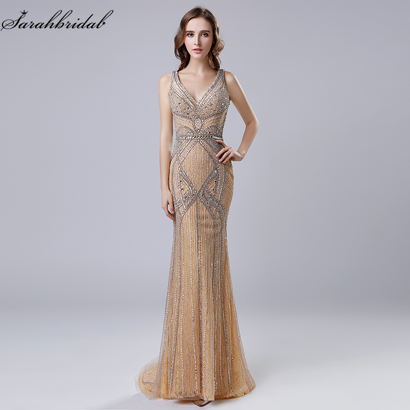 Latest Luxury Styles In Stock Formal   Evening     Dresses   Mermaid Zipper Floor Length Tank Crystal Beading Robe De Soiree LSX421
