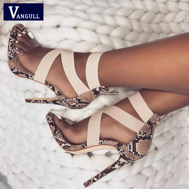 VANGULL Women Sandals Stretch Fabric Sandals 2019 New Ankle-Wrap High Heels  Female Summer Shoes d2eae1c8895d