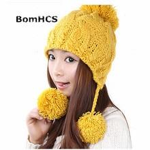 d93cf256119c24 BomHCS Simple Sweet Ear Muff Wool Beanie Hat Women Lady Girl Autumn Winter  Warm Fashion Handmade