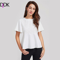 DIDK Lace Crochet Overlay Bell Sleeve Peplum Blouse White Round Neck Short Sleeve Work Blouse With