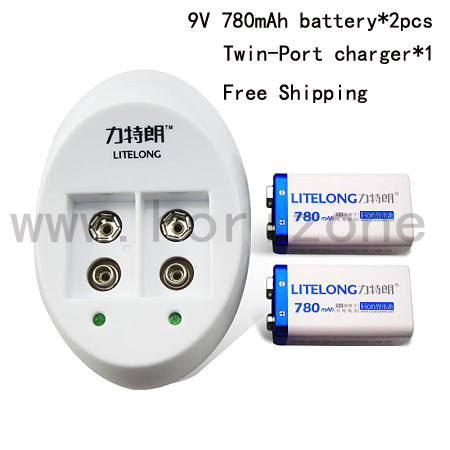 2X Battery +Charger Free Shipping  9V Battery  nine-volt Li-ion 780mAh 6F22 006P 6KR61 6HR61 free customs taxes high quality skyy 48 volt li ion battery pack with charger and bms for 48v 15ah lithium battery pack