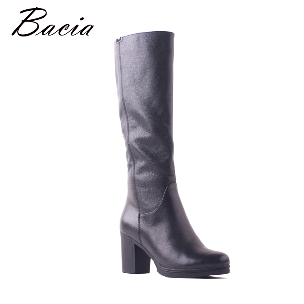 Bacia High Quality Genuine Leather Boots Cow Leather Wool Fur Short Plush Long Boots Black Women Fashion Knee-High Shoes SB098 bacia genuine leather boots short plush women shoes black simple style ankle boots with zipper handmade high quality shoes vd021