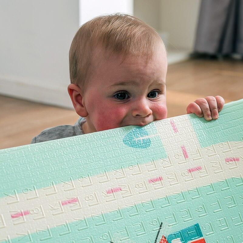 Bébé brillant épaissi 1.5 cm tapis de jeu 200*180 cm pliable dessin animé bébé tapis de jeu enfants ramper Pad Puzzle antidérapant tapis de jeu - 5