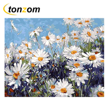 RIHE Sunset Daisy Grassland Drawing By Numbers Flowers DIY Painting Handwork On Canvas Oil Art Coloring Home Decor