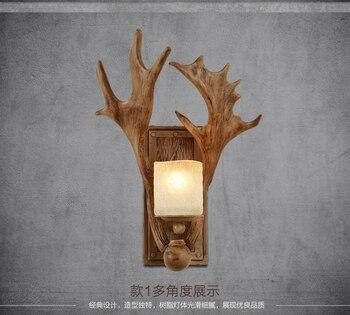 Retro creative living room bedroom bedside lamp resin antlers personalized decoration aisle lights American deer head lamp