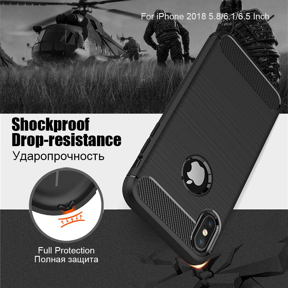 TOMKAS Phone Case Carbon Fiber Cover For iPhone XS Plus X 2018 5.8 6.1 6.5 Inch Soft TPU Silicon Case Protective Back Cover 2018 (6)
