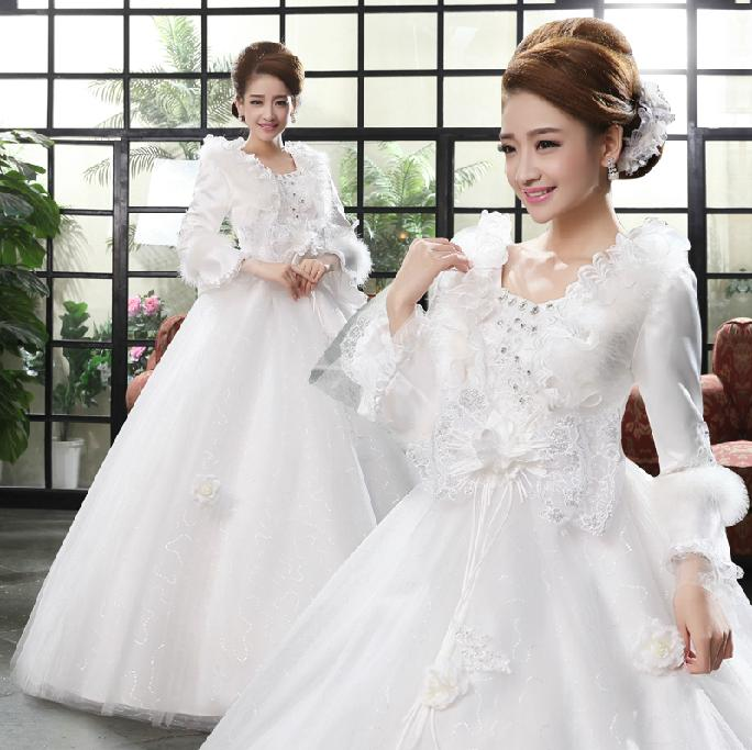 Red And White Wedding Dresses With Sleeves: 2017 New A Line Crystal Square Collar Full Sleeve White