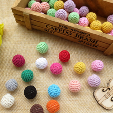 1pcs baby DIY wooden crochet beads handmade teether bead cotton yarn knitted bead diy(China)