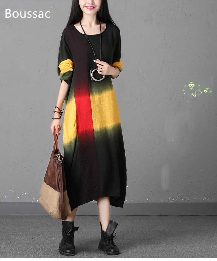 Free shipping Spring long-sleeved Chinese national style big size hit color loosen casual dress for women