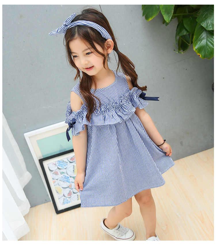 Verão menina vestido babados fora do ombro crianças vestido azul listrado crianças vestidos para meninas moda meninas roupas