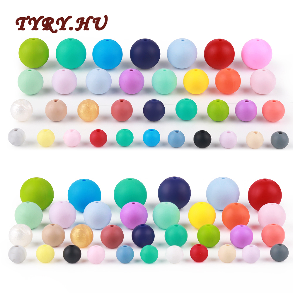 500Pcs 9/12/15/19mm Round Silicone Beads BPA Free Material For Diy Baby Teething Necklace Accessories Baby Teether Toy